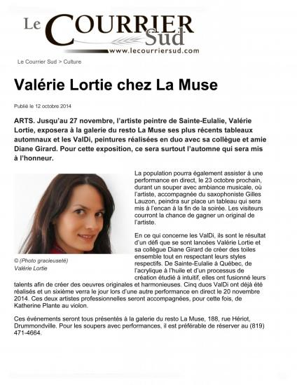 Valerie lortie chez la muse culture le courrier sud