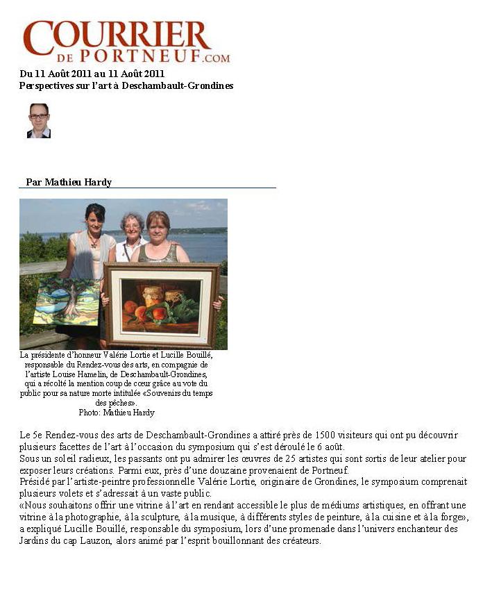 Présidente d'honneur à Deschambault-Grondines