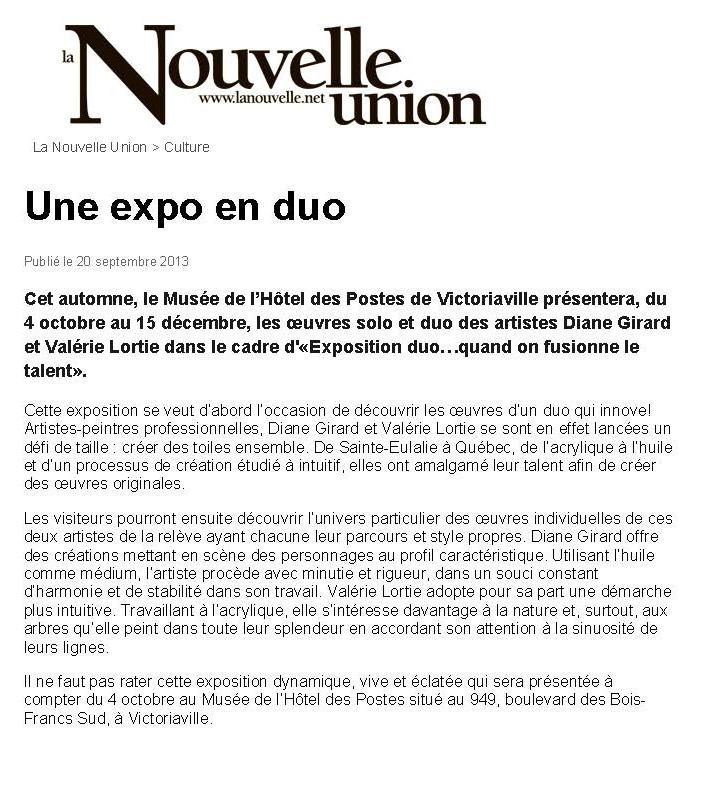 L'Expo Duo, Musée Hôtel des postes, novembre 2013
