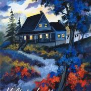 La maison bleue, 9 x 12in