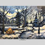 De la haute montagne au paisible feu de joie, 36 x 48 in