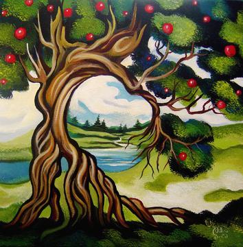 Danseur de pomme, 12x12 po