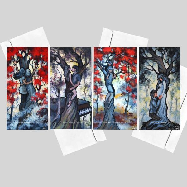 Set of 4 greeting cards 4 x 8 in